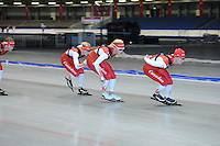 SCHAATSEN: HEERENVEEN: 24-06-2014, IJsstadion Thialf, Zomerijs training, Rens Rotteveel, Maurice Vriend, Sjoerd de Vries, ©foto Martin de Jong