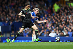 Tom Davies of Everton and César Azpilicueta of Chelsea during the English Premier League match at Goodison Park , Liverpool. Picture date: April 27th, 2016. Photo credit should read: Lynne Cameron/Sportimage