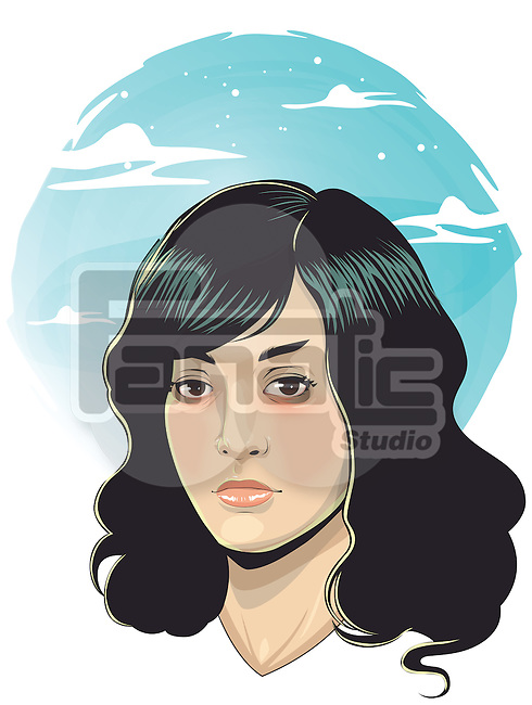 Illustration of depressed young woman against white background
