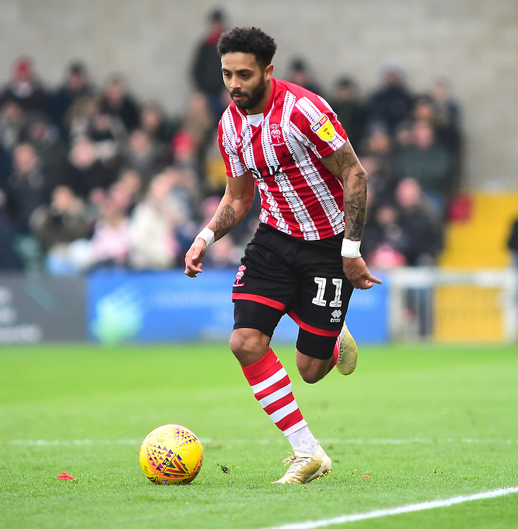 Lincoln City's Bruno Andrade<br /> <br /> Photographer Andrew Vaughan/CameraSport<br /> <br /> The EFL Sky Bet League Two - Lincoln City v Mansfield Town - Saturday 24th November 2018 - Sincil Bank - Lincoln<br /> <br /> World Copyright © 2018 CameraSport. All rights reserved. 43 Linden Ave. Countesthorpe. Leicester. England. LE8 5PG - Tel: +44 (0) 116 277 4147 - admin@camerasport.com - www.camerasport.com