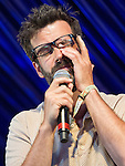 © Joel Goodman - 07973 332324 . 19/07/2013 . Suffolk , UK . Marcus Brigstocke performs on the Comedy Stage in place of Mark Watson , whose train is delayed . The Latitude music and culture festival in Henham Park , Southwold . Photo credit : Joel Goodman