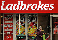 Betting shop, Ladbrokes, in Cardiff, Wales, UK <br /> 01-Oct-2013