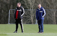 Pictured L-R: Coach Kristian O'Leary and Club Chairman Huw Jenkins. Tuesday 04 March 2014<br />