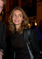 French actress Emanuelle Beart who is the President of the 25th World Film Festival's  Jury smile for a photo during the party of the German delegation at the Festival, August 26th, 2001.<br /> <br /> Brought up on a farm in Provence because her father, French singer and poet Guy B&Egrave;art didn't want her to be affected by the glamour world of Paris showbusiness, Emmanuelle B&Egrave;art nevertheless got the acting urge in early adolescence. At age 15, after a couple of bit parts, she came to Montreal as an au pair to learn English. Back in France, after acting lessons and few small roles in television, she made her big-screen breakthrough in the title role of Claude Berri's Pagnol adaptation, MANON OF THE SPRING (1986). A year later she made her Hollywood debut in Tom McLoughlin's DATE WITH AN ANGEL. She has since played for some of the premier directors on both sides of the Atlantic: Rivette (LA BELLE NOISEUSE, 1991), Sautet (NELLY AND MR. ARNAUD (1995), Chabrol (L'ENFER,1994), De Palma (MISSION: IMPOSSIBLE, 1996) and Ruiz (TIME REGAINED, 1999). She stars in Catherine Corsini's REPLAY, showing at this year's Festival.<br /> <br /> Photo by Pierre Roussel / Getty Images (ON SPEC)<br /> <br /> NOTE : Nikon D-1 JPEG opened with QUIMAGE ICC profile , saved as Adobe RG 1998 color space.