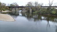 NWA Democrat-Gazette/FLIP PUTTHOFF <br /> Railroad trestle seen upstream Oct. 30, 2015 from the low-water bridge take-out on the Elk River.