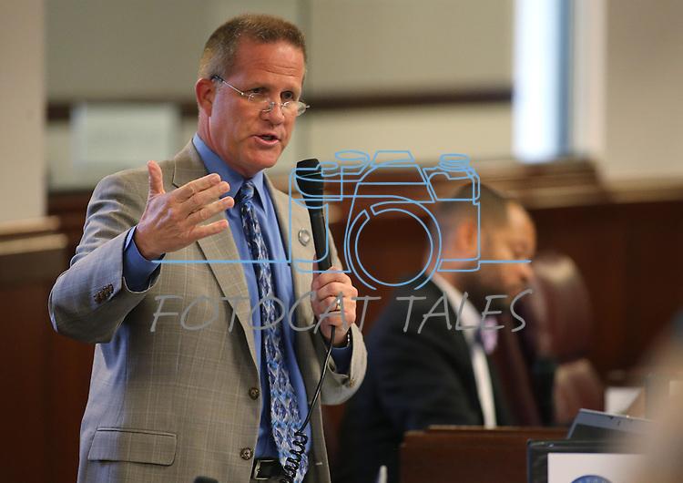 Nevada Sen. Mark Hutchison, D-Las Vegas, speaks on the Senate floor at the Legislative Building in Carson City, Nev., on Tuesday, May 21, 2013. .Photo by Cathleen Allison
