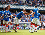 14.07.2019: Rangers v Marseille: Borna Barisic shoves Connor Goldson away froim Nikola Katic for a laugh after goal no 3