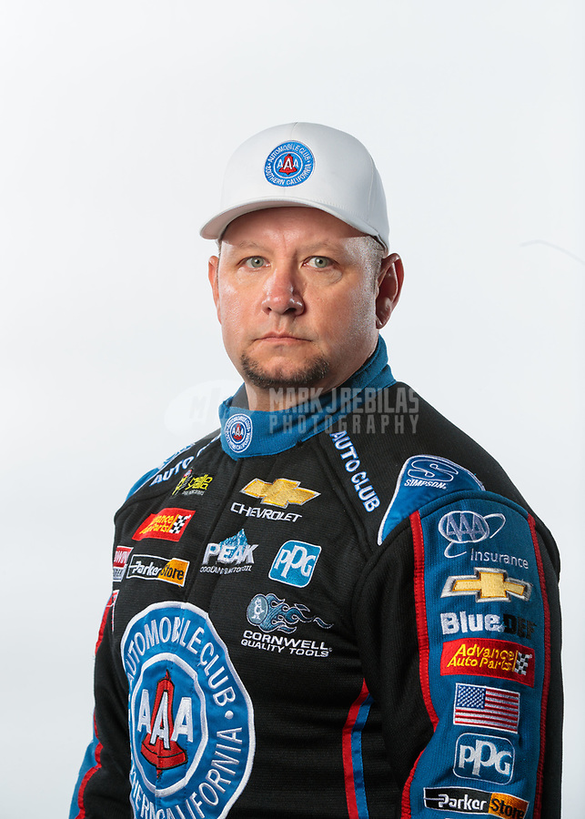 Feb 6, 2019; Pomona, CA, USA; NHRA funny car driver Robert Hight poses for a portrait during NHRA Media Day at the NHRA Museum. Mandatory Credit: Mark J. Rebilas-USA TODAY Sports