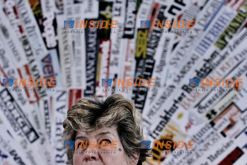 Il segretario generale della CGIL Susanna Camusso.Roma 02/04/2012 Presentazione del libro Il lavoro prima di.tutto,l'economia, la sinistra, i diritti..Foto Serena Cremaschi Insidefoto