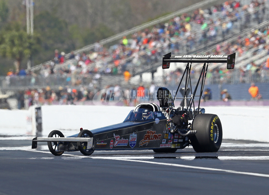 Mar 17, 2017; Gainesville , FL, USA; NHRA top alcohol dragster driver Daniel Page during qualifying for the Gatornationals at Gainesville Raceway. Mandatory Credit: Mark J. Rebilas-USA TODAY Sports