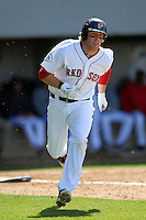 First baseman Lars Anderson #26  of the Pawtucket Red Sox during a game versus the Buffalo Bisons on 4-17-11 at McCoy Stadium in Pawtucket, Rhode Island. Photo by Ken Babbitt /Four Seam Images