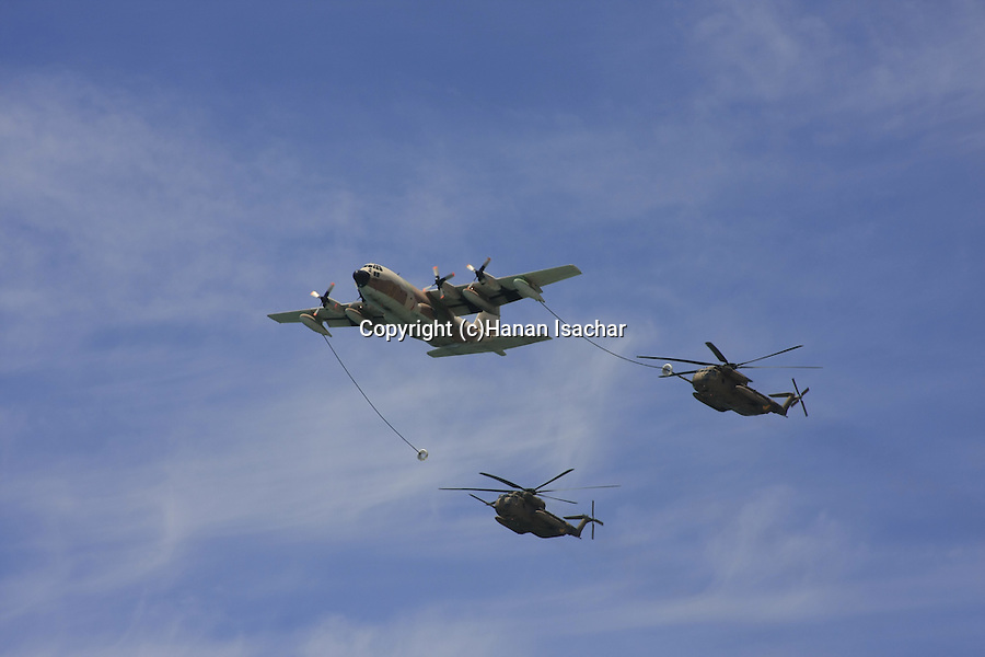 Israel, Tel Aviv-Yafo, the Air Force show on Independence Day, Sikorsky 53 helicopters refueling