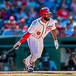 30 July 2017: Washington Nationals outfielder Brian Goodwin at bat against the Colorado Rockies at Nationals Park in Washington, DC. The Rockies defeated the Nationals 10-6 in the second game of their 3-game weekend series. Mandatory Credit: Ed Wolfstein Photo *** RAW (NEF) Image File Available ***