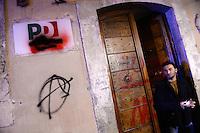 La sede del Partito Democratico di Via dei Giubbonari danneggiata. An histrorical Democratic Party department damaged by protesters <br /> Roma 20-11-2013 Manifestazione movimenti NO TAV. <br /> Protest against the Turin-Lyon high speed train line<br /> Foto Andrea Staccioli / Insidefoto