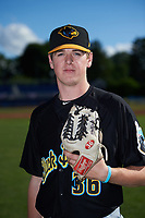 West Virginia Black Bears pitcher Gavin Wallace (36) poses for a photo before a game against the Batavia Muckdogs on June 26, 2017 at Dwyer Stadium in Batavia, New York.  Batavia defeated West Virginia 1-0 in ten innings.  (Mike Janes/Four Seam Images)