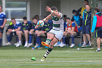 Luke Daniels of Ealing Trailfinders kicks during the British & Irish Cup Final match between Ealing Trailfinders and Leinster Rugby at Castle Bar, West Ealing, England  on 12 May 2018. Photo by David Horn / PRiME Media Images.
