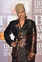Emeli Sande<br /> The Brit Awards at the o2 Arena, Greenwich, London, England on February 22, 2017.<br /> CAP/PL<br /> &copy;Phil Loftus/Capital Pictures /MediaPunch ***NORTH AND SOUTH AMERICAS ONLY***