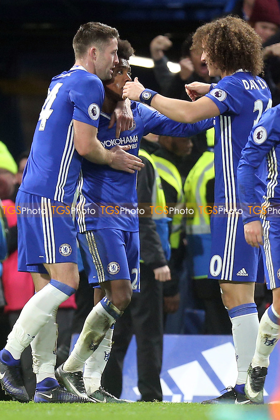 Willian of Chelsea is congratulated after scoring the third goal during Chelsea vs Stoke City, Premier League Football at Stamford Bridge on 31st December 2016