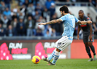 Football, Serie A: S.S. Lazio - Udinese Olympic stadium, Rome, December 1, 2019. <br /> Lazio's Luis Alberto kicks a penalty and scores during the Italian Serie A football match between S.S. Lazio and Udinese at Rome's Olympic stadium, Rome on December 1, 2019.<br /> UPDATE IMAGES PRESS/Isabella Bonotto