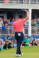 Jon Rahm (ESP) sinks his putt to win the tournament by 2 shots on the 18th green during Sunday's Final Round of the Dubai Duty Free Irish Open 2019, held at Lahinch Golf Club, Lahinch, Ireland. 7th July 2019.<br /> Picture: Eoin Clarke | Golffile<br /> <br /> <br /> All photos usage must carry mandatory copyright credit (© Golffile | Eoin Clarke)