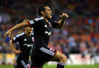 WASHINGTON, D.C - April 26 2014: Fabian Espindola  of D.C. United celebrates his first goal during D.C. United vs F.C. Dallas MLS match at RFK Stadium, in Washington D.C. United won 4-1.