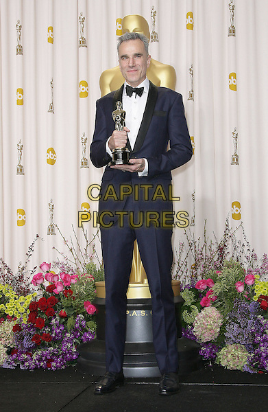 Daniel Day Lewis  .85th Annual Academy Awards held at the Dolby Theatre at Hollywood & Highland Center, Hollywood, California, USA..February 24th, 2013.pressroom oscars full length black blue tuxedo white shirt award winner trophy .CAP/ADM.©AdMedia/Capital Pictures.