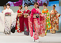 February16, 2013, Tokyo, Japan - Contestants show off their kimonos on stage during the 2013 Kimono Queen Contest. Approximately 500 women dressed in beautifully designed kimonos participate in this annual event for a chance to win special prizes and given the opportunity to be recognized as a kimono model in various media outlets. (Photo by Christopher Jue/Nippon News)