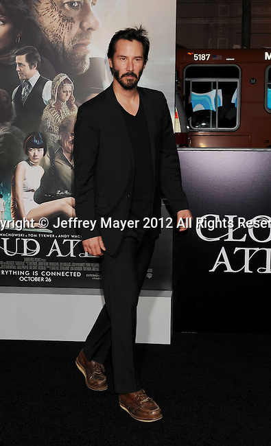 HOLLYWOOD, CA - OCTOBER 24: Keanu Reeves arrives at the Los Angeles premiere of 'Cloud Atlas' at Grauman's Chinese Theatre on October 24, 2012 in Hollywood, California.