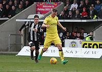 Alan Lithgow passing back with Danny Mullen advancing in the St Mirren v Livingston Scottish Professional Football League Ladbrokes Championship match played at the Paisley 2021 Stadium, Paisley on 14.4.18.