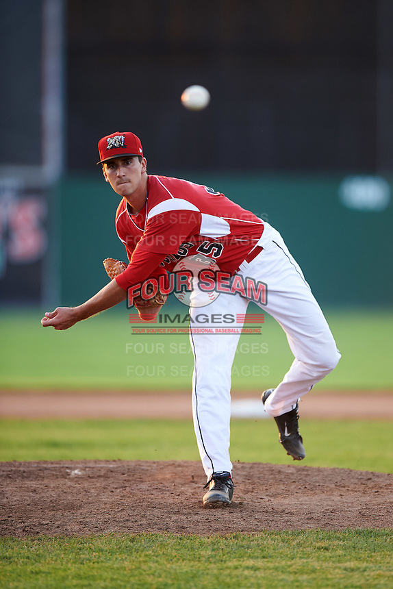Batavia Muckdogs relief pitcher Connor Bach (35) during a game against the Brooklyn Cyclones on July 5, 2016 at Dwyer Stadium in Batavia, New York.  Brooklyn defeated Batavia 5-1.  (Mike Janes/Four Seam Images)