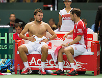 Switserland, Genève, September 18, 2015, Tennis,   Davis Cup, Switserland-Netherlands, Stan Wawrinka (SUI) on the bench with captain Severin Luthi<br /> Photo: Tennisimages/Henk Koster