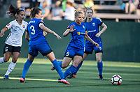 Seattle, WA - Saturday July 22, 2017: Taylor Lytle, Lauren Barnes, Merritt Mathias, Kristen McNabb during a regular season National Women's Soccer League (NWSL) match between the Seattle Reign FC and Sky Blue FC at Memorial Stadium.