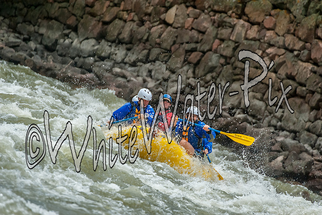 Nova Guides crashing The Wall & Man-Eater Rapids while running Shoshone in Glenwood Canyon on the Colorado River on the afternoon of August 26, 2014.