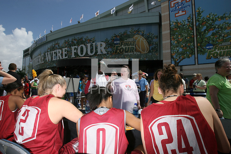 5 April 2008: Stanford Cardinal (L-R) Candice Wiggins, Jayne Appel, Melanie Murphy, and Ashley Cimino during Stanford's 2008 NCAA Division I Women's Basketball Final Four open practice autograph session at the St. Pete Times Forum Arena in Tampa Bay, FL.