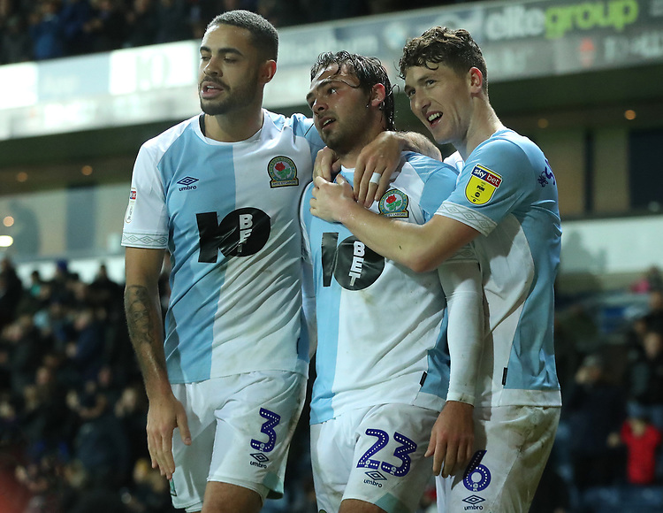 Blackburn Rovers' Derrick Williams, Blackburn Rovers' Bradley Dack and Blackburn Rovers' Richard Smallwood celebrate there sides fourth goal <br /> <br /> Photographer Rachel Holborn/CameraSport<br /> <br /> The EFL Sky Bet Championship - Blackburn Rovers v Sheffield Wednesday - Saturday 1st December 2018 - Ewood Park - Blackburn<br /> <br /> World Copyright &copy; 2018 CameraSport. All rights reserved. 43 Linden Ave. Countesthorpe. Leicester. England. LE8 5PG - Tel: +44 (0) 116 277 4147 - admin@camerasport.com - www.camerasport.com