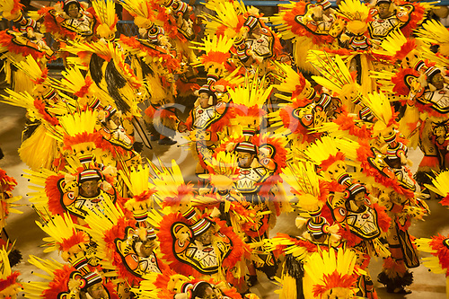 Imperatriz Leopolinense Samba School, Carnival, Rio de Janeiro, Brazil, 26th February 2017. The forest animals dance group, in the bright colours of nature, with the mask of the jaguar of the forest.