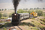 No. 93 passes north of Ely up the grade toward Keystone. Nevada Northern Railway, East Ely yards, Nev.