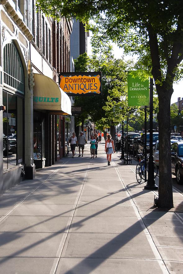 Pedestrians was along Main Street in downtown Bozeman, Montana.