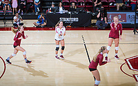 STANFORD, CA - September 9, 2018: Morgan Hentz, Meghan McClure, Kathryn Plummer, Jenna Gray at Maples Pavilion. The Stanford Cardinal defeated #1 ranked Minnesota 3-1 in the Big Ten / PAC-12 Challenge.
