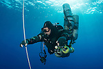 Technical Diving Instructor Steve Wilkinson decompressing on open circuit after a long dive on HMS Stubborn