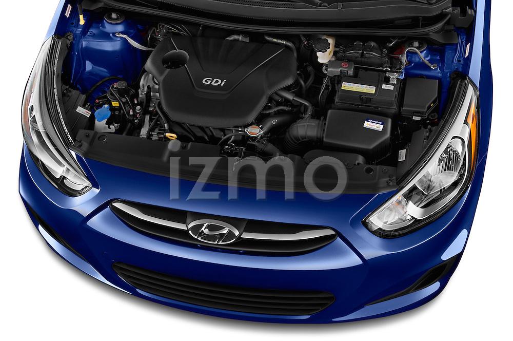 Car Stock 2017 Hyundai Accent SE 4-Door 6-Speed Automatic 4 Door Sedan Engine  high angle detail view