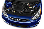 Car Stock 2016 Hyundai Accent SE 4-Door 6-Speed Automatic 4 Door Sedan Engine  high angle detail view