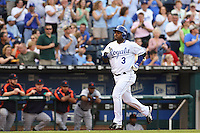 Royals third baseman Esteban German hits a home run in the second inning against the Detroit Tigers at Kauffman Stadium in Kansas City, Missouri on May 5, 2007.