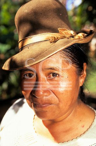 San Juan del Oro, Peru. Portrait of a woman with a hat.