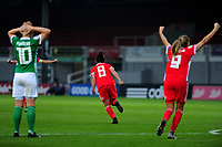 Angharad James of Wales celebrates scoring her side's first goal during the UEFA Womens Euro Qualifier match between Wales and Northern Ireland at Rodney Parade in Newport, Wales, UK. Tuesday 03, September 2019
