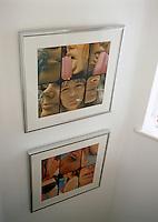 Framed Pirelli prints line the staircase of Fiona Stuart's London home