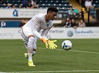 Goalkeeper Jamal Blackman of Wycombe Wanderers (on loan from Chelsea) during the Sky Bet League 2 match between Wycombe Wanderers and Colchester United at Adams Park, High Wycombe, England on 27 August 2016. Photo by Liam McAvoy.
