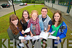 Leaving Cert students from Mercy Mounthawk, Tralee, who received their Leaving Cert results on Wednesday morning are pictured l-r: Rebecca Maunsell, Treasa Moriarty, Aine Daly, Richard Raftery and Sally Regan.