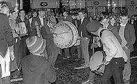 Supporters of Rev Ian Paisley celebrate his victory in the Bannside by-election for the N Ireland Parliament, Stormont, 16th April 1970. The seat was previously held by the former Ulster Unionist Prime Minister, Captain Terence O'Neill. 197004160116d<br /> <br /> Copyright Image from Victor Patterson, 54 Dorchester Park, Belfast, UK, BT9 6RJ<br /> <br /> t1: +44 28 9066 1296<br /> t2: +44 28 9002 2446<br /> m: +44 7802 353836<br /> <br /> e1: victorpatterson@me.com<br /> e2: victorpatterson@gmail.com<br /> <br /> IMPORTANT: My Terms and Conditions of Business are at www.victorpatterson.com