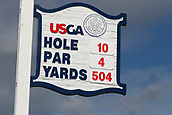 June 14th 2017, Erin, Wisconsin, USA; A general view of the tee marker on the 10th hole during the 117th US Open - Practice Round at Erin Hills in Erin, Wisconsin